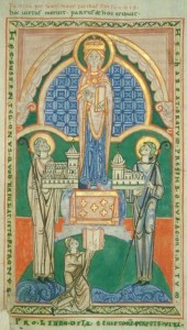 Stephen Harding presents a model of his church to the Virgin Mary. Dijon, Bibliothèque municipale, MS 130, folio 4r. Saint-Vaast d'Arras, circa 1125. Photograph via Wikipedia Commons.