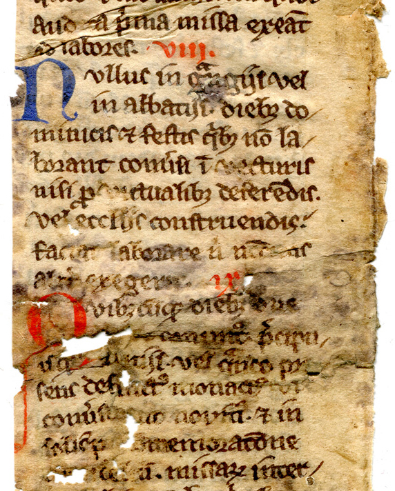 Verso: Detail. Fragment from a Copy of the Cistercian Statutes of 1257-1258. Reproduced by permission.