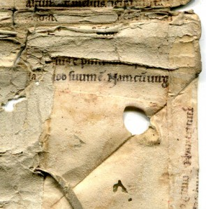 Verso of the Leaf and Interior of the Binding, Detail: Lower Right-Hand Corner, with the Mitered Flap Unfolde