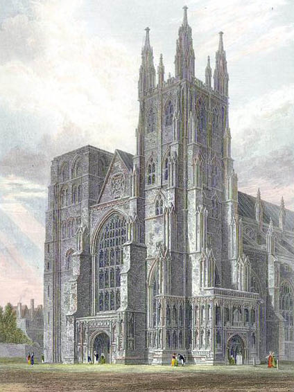 Canterbury Cathedral, view of the Western Towers engraved by J.LeKeux after a picture by G.Cattermole, 1821. Via Wikimedia.