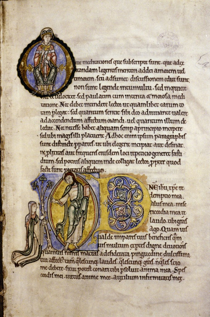 Bodleian Library, MS. Auct. D. 2. 6, folio 156r. Opening Page of Anselm's 'Prayers and Meditations'. Photo: © Bodleian Library, University of Oxford.