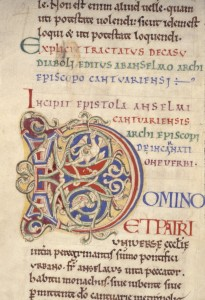 Bodleian Library, MS. 271, folio 62v, detail: Initial D for 'Domino'. Opening of Anselm's 'Letters'. Photo: © Bodleian Library, University of Oxford.