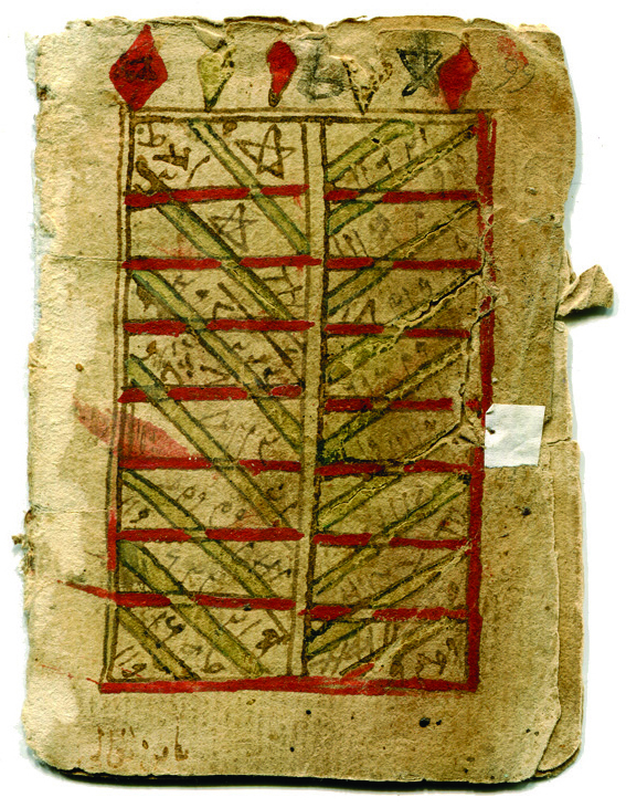 First recto of a fragmentary bifolium in Arabic on paper, from a small manuscript, circa 16th century CE. Text probably occult. See our Gallery of 'Scripts on Parade'.