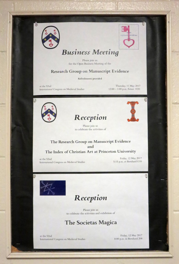 Triple Treat: Posters, set in RGME Bembino, announcing the RGME Business Meeting and 2 associated Receptions at the 52nd International Congress on Medieval Studies.