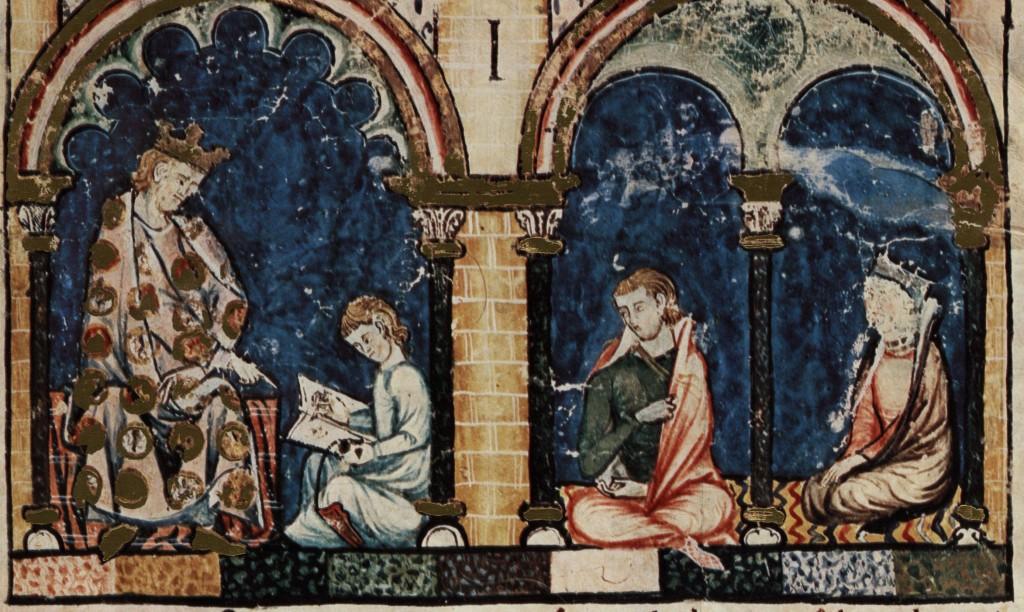 Libro de los juegos, folio 1 recto, detail. Madrid, Real Biblioteca del Monasterio de El Escorial, MS T.I.6, Folio 1 recto.