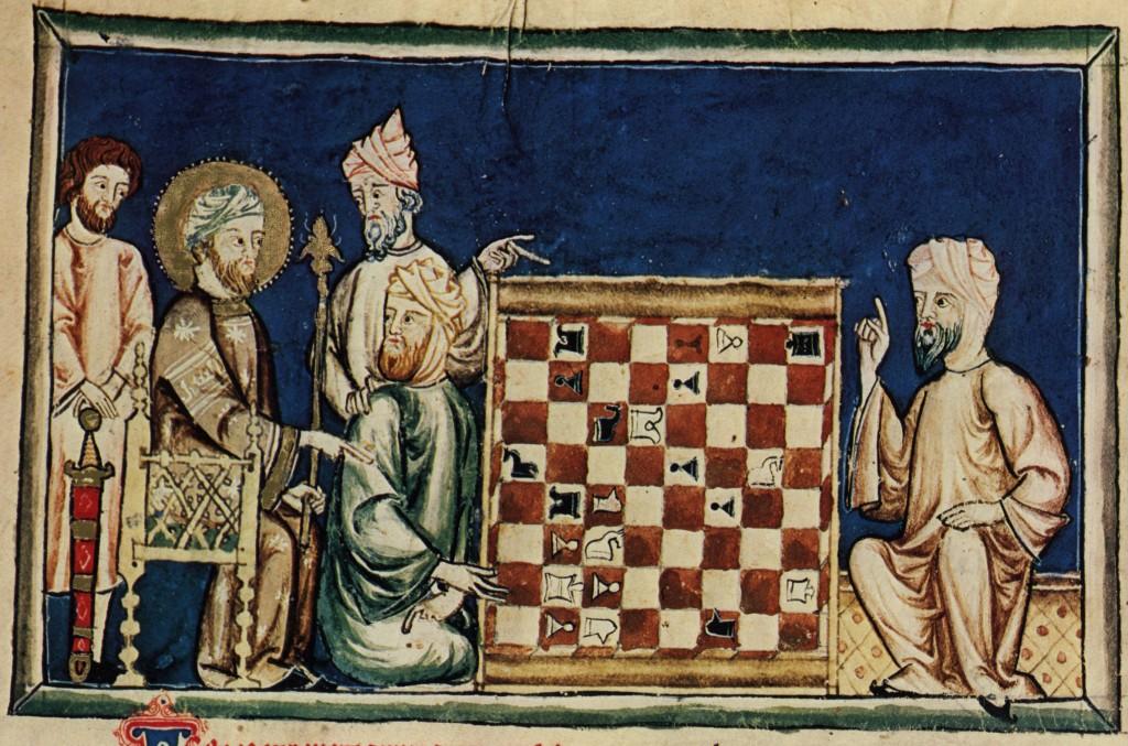 Libro de los juegos. Madrid, Madrid, Real Biblioteca del Monasterio de El Escorial, MS T.1.6, folio 17 verso, detail.