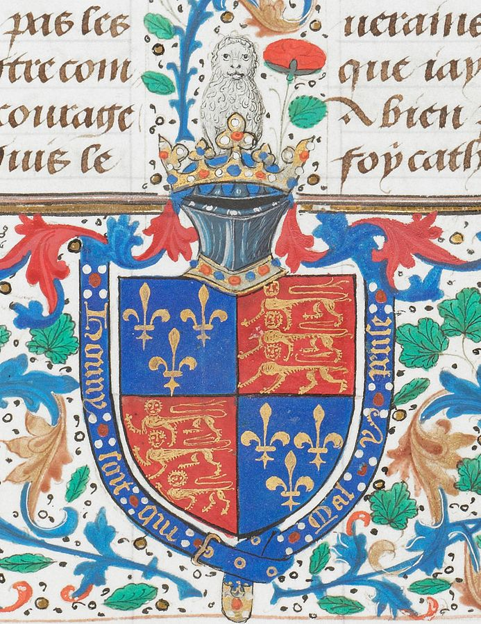 ©The British Library Board. London, British Library, Royal MS 14 E. I, folio 3r, detail: Arms of England for Edward IV.