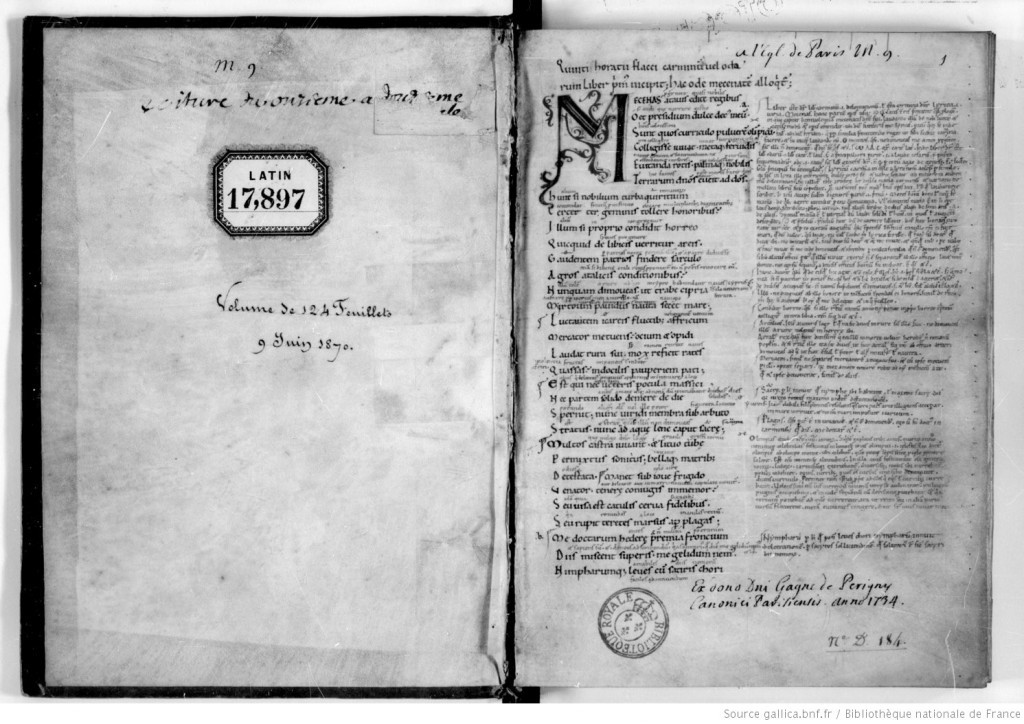 Paris, BnF, MS latin 17987, first opening with front endleaf and folio 1 recto. Ownership marks and first page of Horace's 'Carmina', with commentary. Via gallica.bnf through Creative Commons.