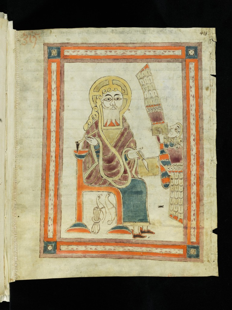 Saint Gall, Stiftsbibliothek, Cod. Sang. 1395, page 418 (https://www.e-codices.ch)= recto with a framed illustration of the scribal evangelist Matthew with his winged symbol, a Man. Via Creative Commons.