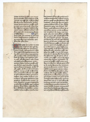 Dialogi, ca. 1475. Otto F. Ege, Fifty original leaves from medieval manuscripts (). Special Collections and University Archives, University of Massachusetts Amherst Libraries