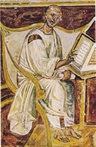 Rome, Lateran, fresco, Saint Augustine seated before a lectern. Via Wiki Commons.