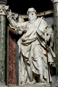 Statue of St. Paul the Apostle by Pierre-Étienne Monnot. Rome, Basilica of Saint John Lateran, Nave. Photograph © Marie-Lan Nguyen via Wikimedia Commons.