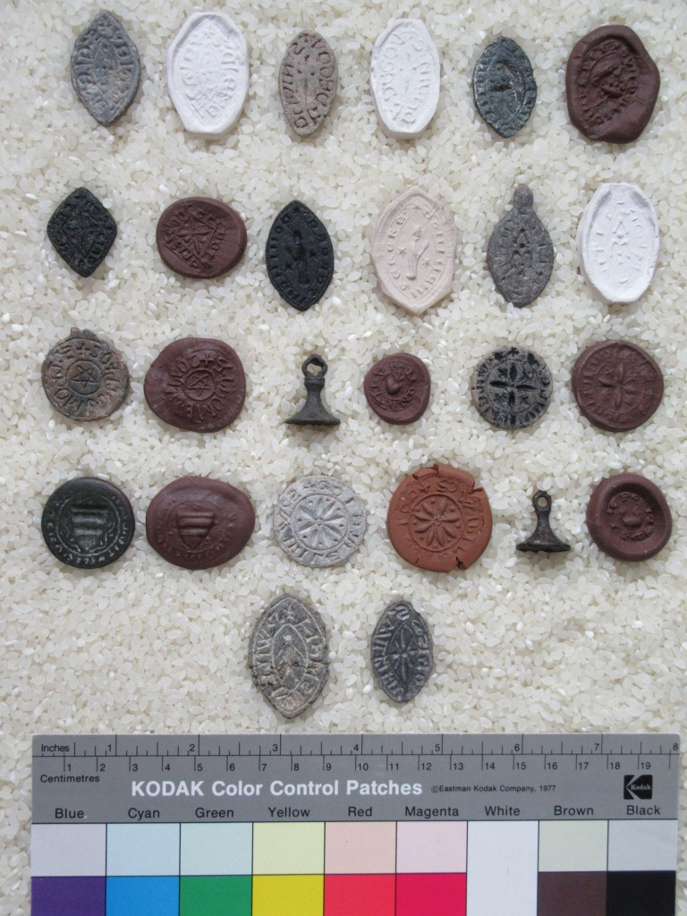 Private Collection. Set of 14 Seal Matrices accompanied by Specimens of their Seals.