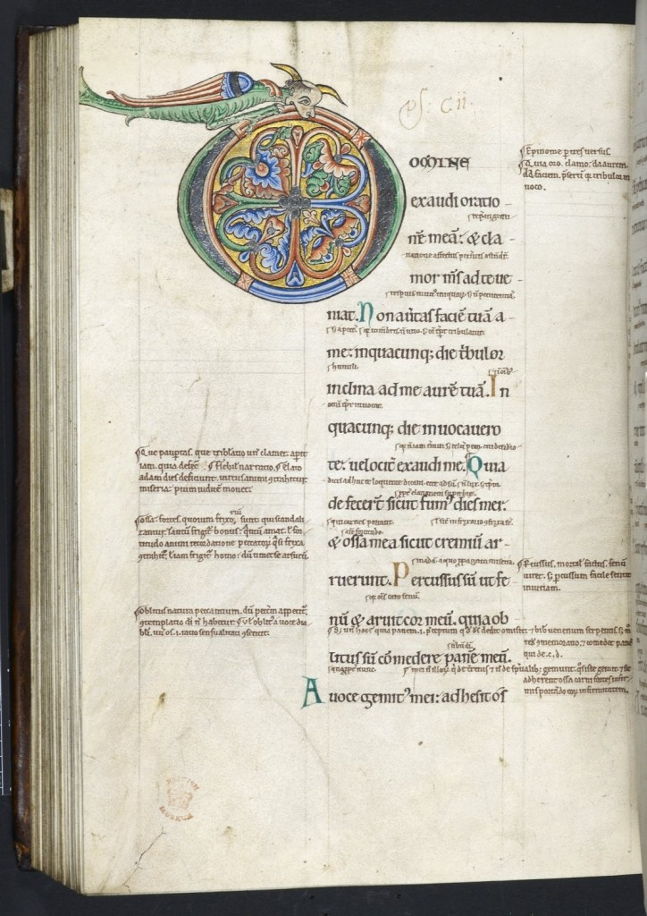 © The British Library Board. Harley MS 628, folio 160 verso. Psalms 101 begin.
