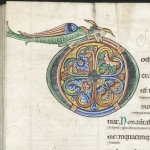 © The British Library Board. Harley MS 628, folio 160 verso. the initial 'd' for 'Domini'.