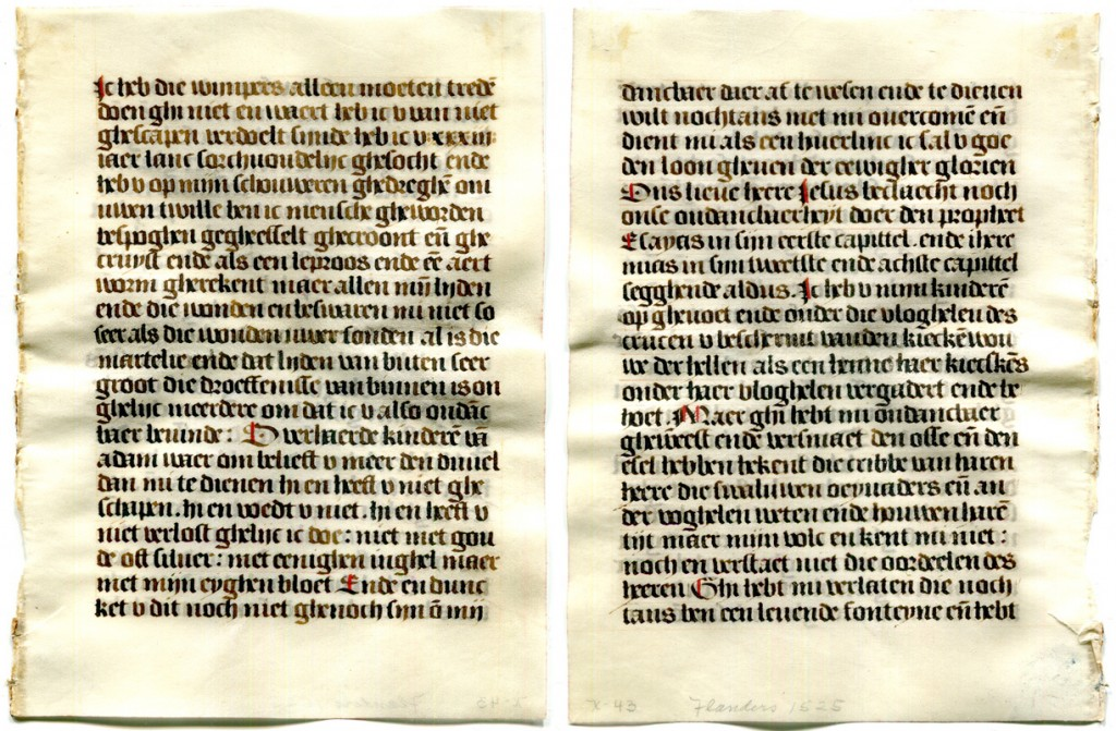 Verso and Recto of a Single Leaf detached from a prayerbook in Dutch made circa 1530, owned and dismembered by Otto F. Ege