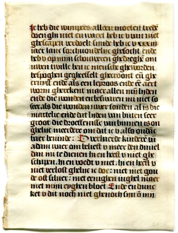 Original Recto of a Single Leaf detached from a prayerbook in Dutch made circa 1530, owned and dismembered by Otto F. Ege