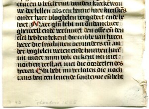 Lower Half of the Original Verso of a Single Leaf detached from a prayerbook in Dutch made circa 1530, owned and dismembered by Otto F. Ege, with the seller's description in pencil in the lower margin. Image reproduced by permission.