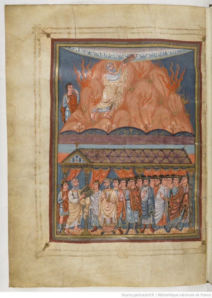Paris, BnF, MS latin 1, folio 27 verso. Vivien Bible, or First Bible of Charles the Bald: Exodus frontispiece. Via gallica.bnf through Creative Commons.