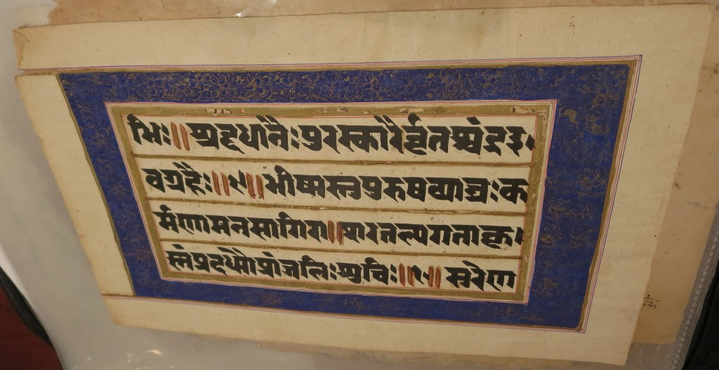 Blue-Bordered Side of the Paper Leaf in Sanskrit, seen from an angle within the transparent archival polypropylene slip-in protector. Image cropped to border of the column of text. Private Collection. Photograph by Mildred Budny.