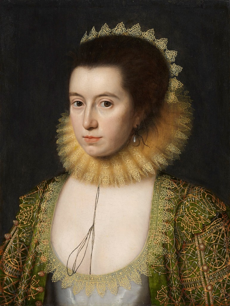 Portrait in 1618 by William Larkin of Anne Clifford, Countess of Dorset and later Countess of Pembroke (1590 - 1676). London, National Portrait Gallery, image in the Public Domain via Wikimedia Commons.
