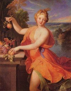 Pigment on Canvas. Nicolas_Fouché, Pomona (1700), Budapest, Museum of Fine Arts, via Wikipedia Commons