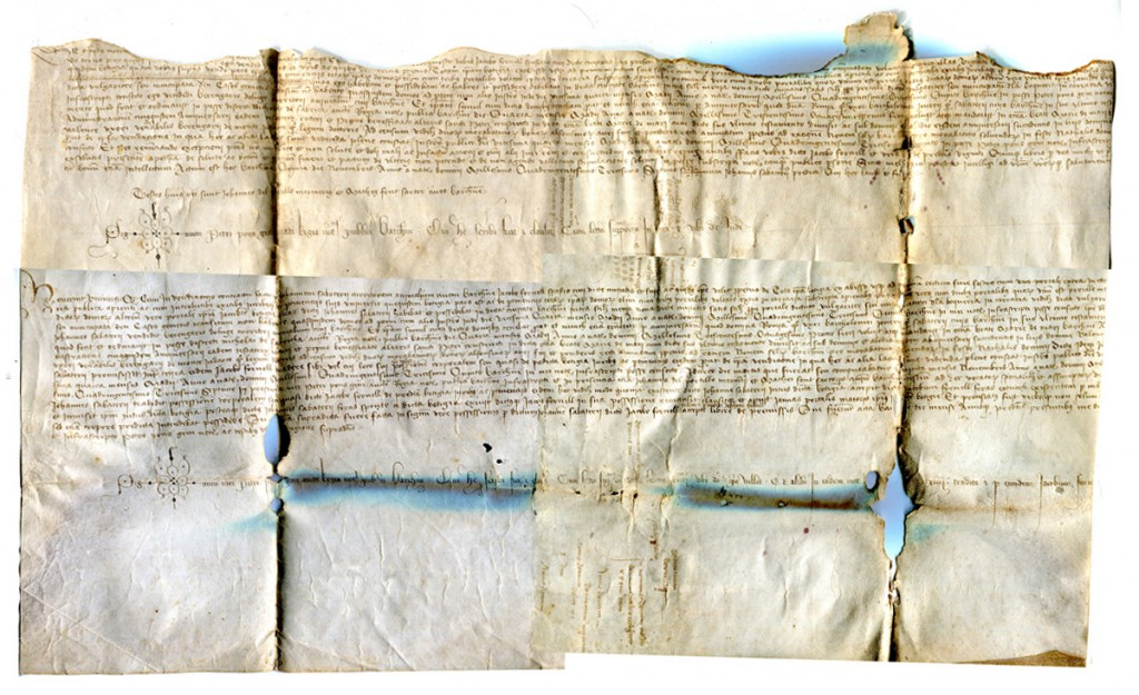 Bipartite Document of 1437 in Latin from Barcelona: Top Left.