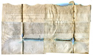 Large Single-Sheet Latin Document on Vellum recording a sale of land of 1437. Private Collection. Reproduced by Permission.