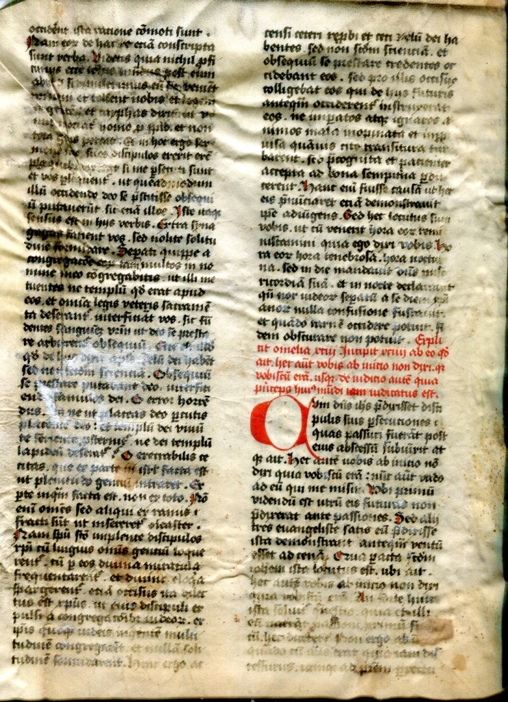 Augustine Homilies Bifolium, Folio I verso. Private Collection, reproduced by permission.