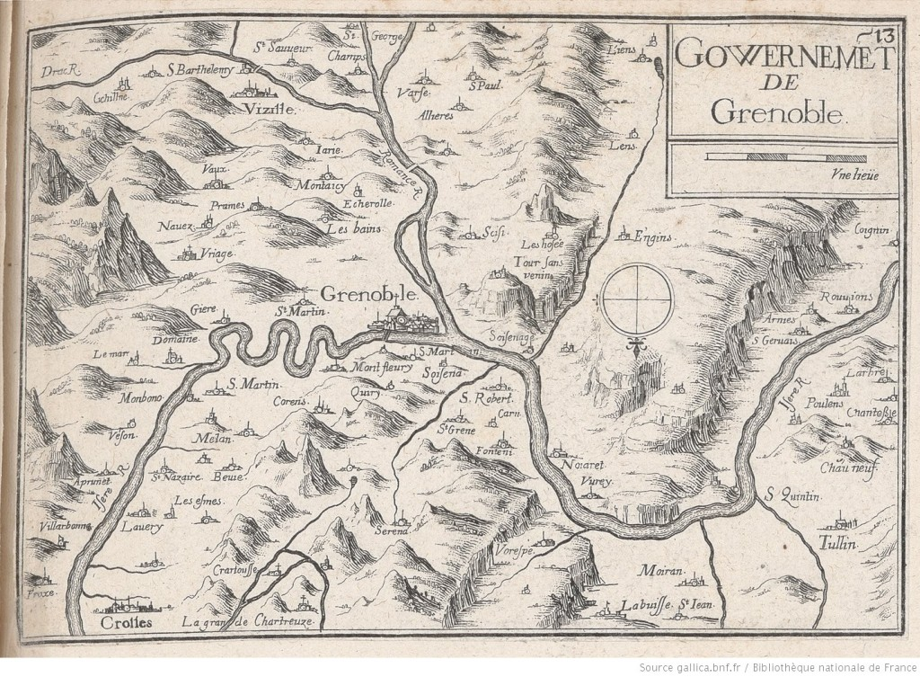 Govvernement du Grenoble. 'Plans, vues et cartes du Dauphiné' by Christophe Tassin (1634). Via gallica.bfn.fr: https://gallica.bnf.fr/ark:/12148/btv1b53152793f/f2.item.r=Christophe%20TassinDauphine%20Dauphine.