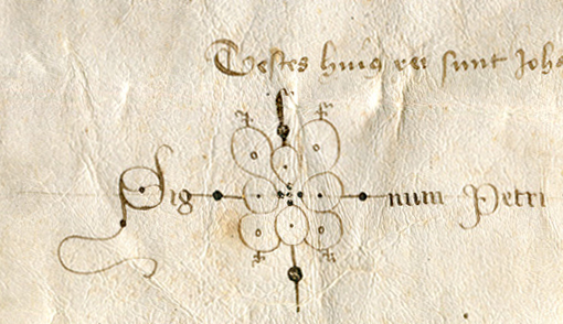 Bipartite Document of 1437 in Latin from Barcelona: Notarial Signature Version 1.