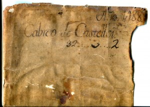 Bipartite 1437 Document in Latin from Barcelona.  Docketing Inscription on verso or dorse of the vellum sheet, with information about the former volume which the vellum sheet formerly covered.  Private Collection, reproduced by permission.