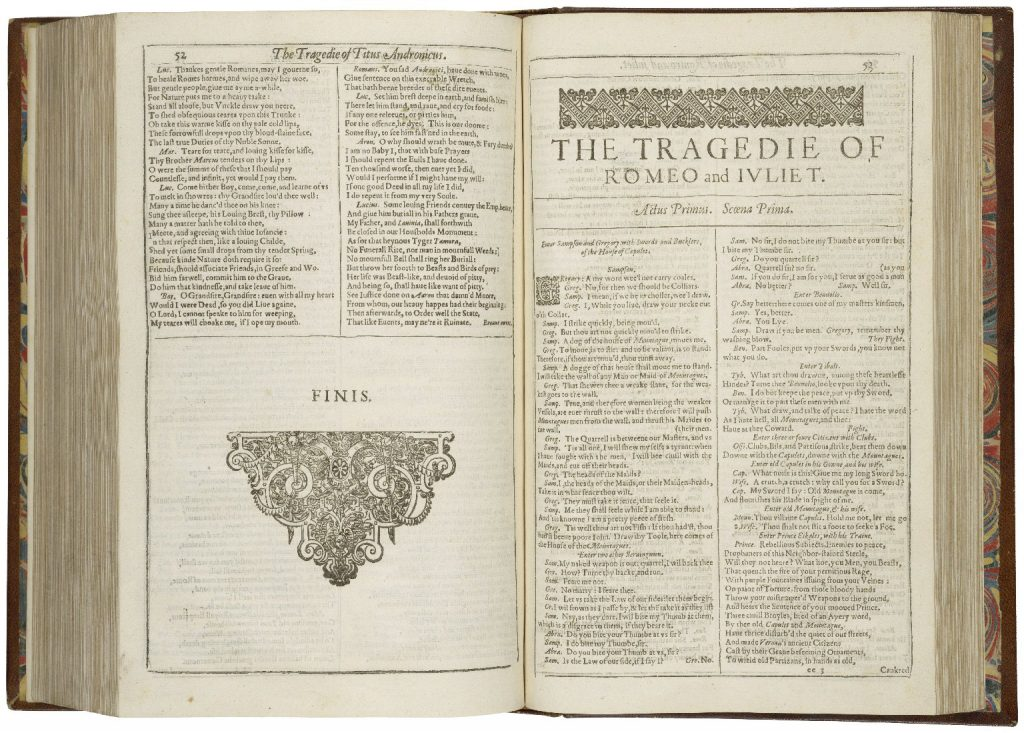 "Title Page of ""Romeo and Juliet"" in the First Folio (1631). Folger Shakespeare Library., via Wikipedia Commons."