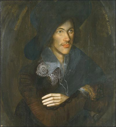 Portrait of John Donne as a young man, circa 1595. London, National Portrait Gallery, via Wikipedia Commons in the Public Domain.