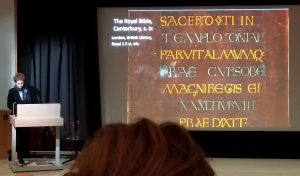 Julia Smith introduces The Royal Bible of Saint Augustine's Anbbey Canterbury in her Plenary Lecture December 2018. Photograph by Mildred Budny