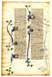Verso of a Leaf from a 35-Line, Double-Column Breviary. Circa 1300. Private Collection, reproduced by permission.