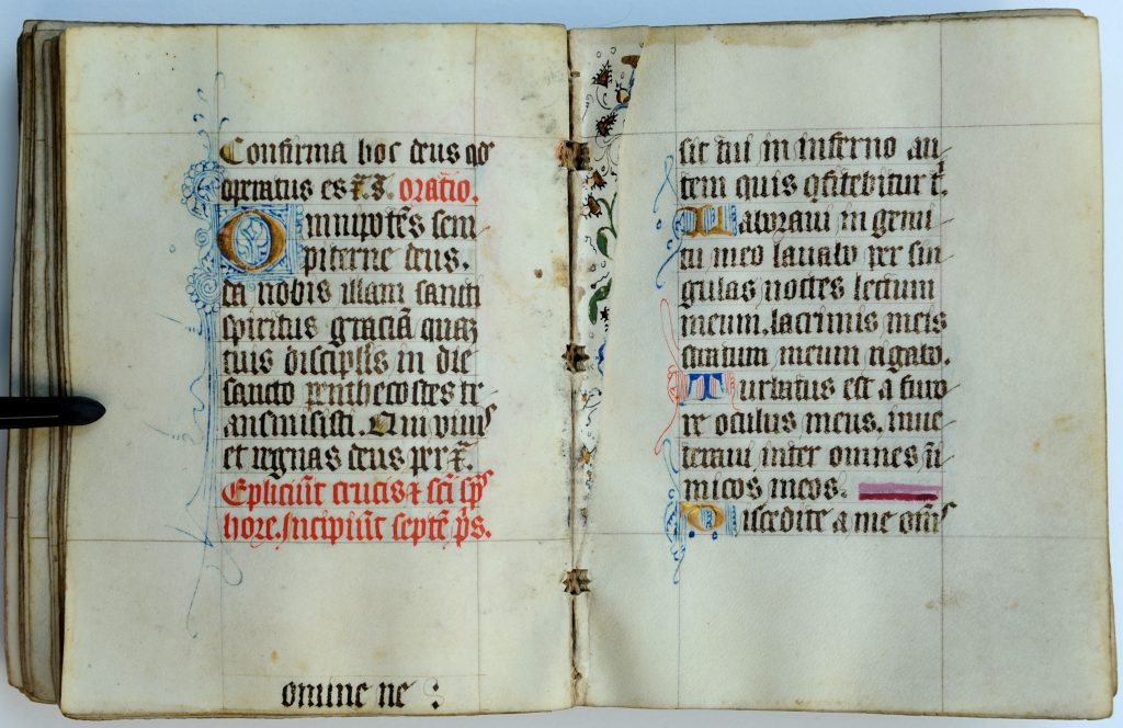 Book of Hours from Northeastern France, opened to the (despoiled) opening of the Seven Penitential Psalms. Private Collection, folios 98 verso and 99 recto, with the intervening stub left over from a decorated leaf. Private collection, reproduced by permission. Photograph by Mildred Budny