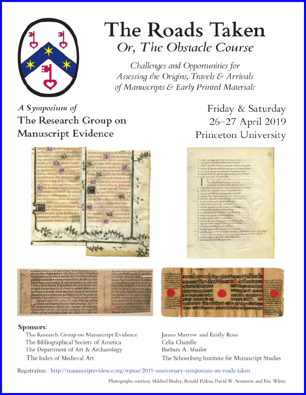 Poster 1 for 2019 Anniversary Symposium, with symposium information with images of manuscript and early printed pages..