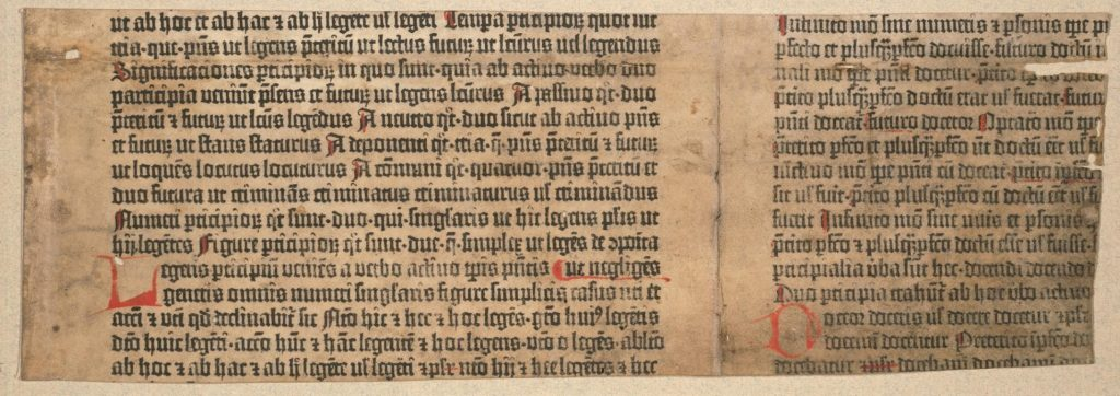 Princeton University Library, Scheide Library, Donatus, Ars minor (fragment). Printed on vellum. [Mainz: Types of the 42-Line Bible, circa 1453–54]