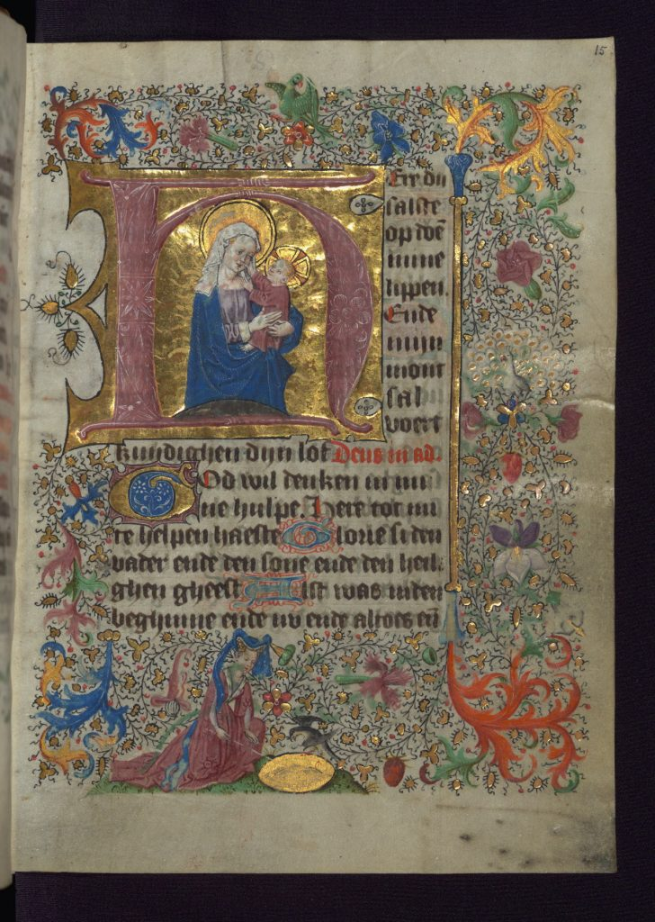 "Baltimore, Walters MS W.782, folio 15r. Van Alphen Hours. Dutch Book of Hours made for a female patron in the mid 15th century. Opening page of the Hours of the Virgin: ""Here du salste opdoen mine lippen"". Image via Creative Commons. At the bottom of the bordered page, an elegantly dressed woman sits before a shiny bowl- or mirror-like object, in order, perhaps, to perform skrying or to lure a unicorn."