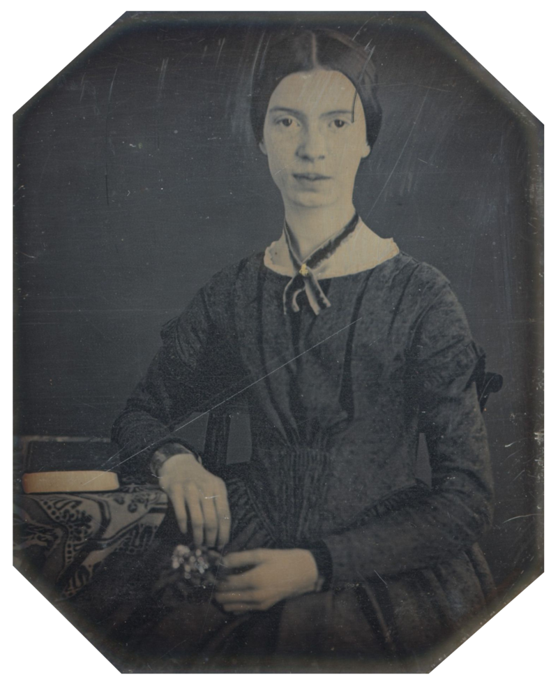 mons.wikimedia.org/w/index.php?curid=21206329. Amherst, Massachusetts, Amherst College Archives, Special Collections, Daguerreotype taken at Mount Holyoke, December 1846 or early 1847; the only authenticated portrait of Emily Dickinson after childhood. Image via Wikimedia Commons.