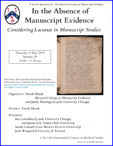 2019 Poster for RGME Session on Manuscript Lacunae at the 54th International Congress on Medieval Studies at Kalamazoo.