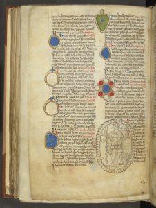 London, British Library, Cotton MS Nero D I, folio 146v. Matthew Paris's description in the 'Liber Additamentorum' of the gems of Saint Albans Abbey.