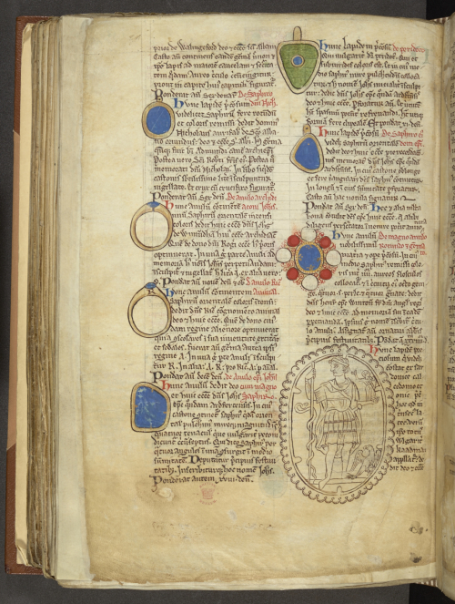 London, British Library, Cotton MS Nero D I, folio 146v. Matthew Paris's description in the 'Liber Additamentorum' of the gems of Saint Albans Abbey.