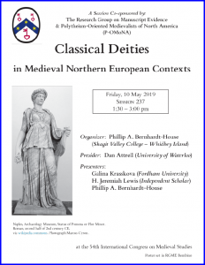 Poster for 'Classical Deities' Session co-cponsored with Pomona at the International Congress on Medieval Studies at Kalamazoo 2019.