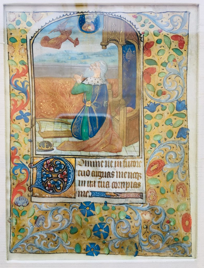 J. S. Wagner Collection. Detached Manuscript Detached Leaf with the Opening in Latin of the Penitent Psalm 37 (38) and its Illustration of King David.