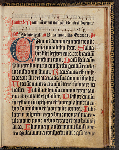 Princeton University Library, Scheide Library. Mainz Psalter on vellum (Mainz: Johann Fust and Peter Schoeffer, 14 August 1457), folio 98.