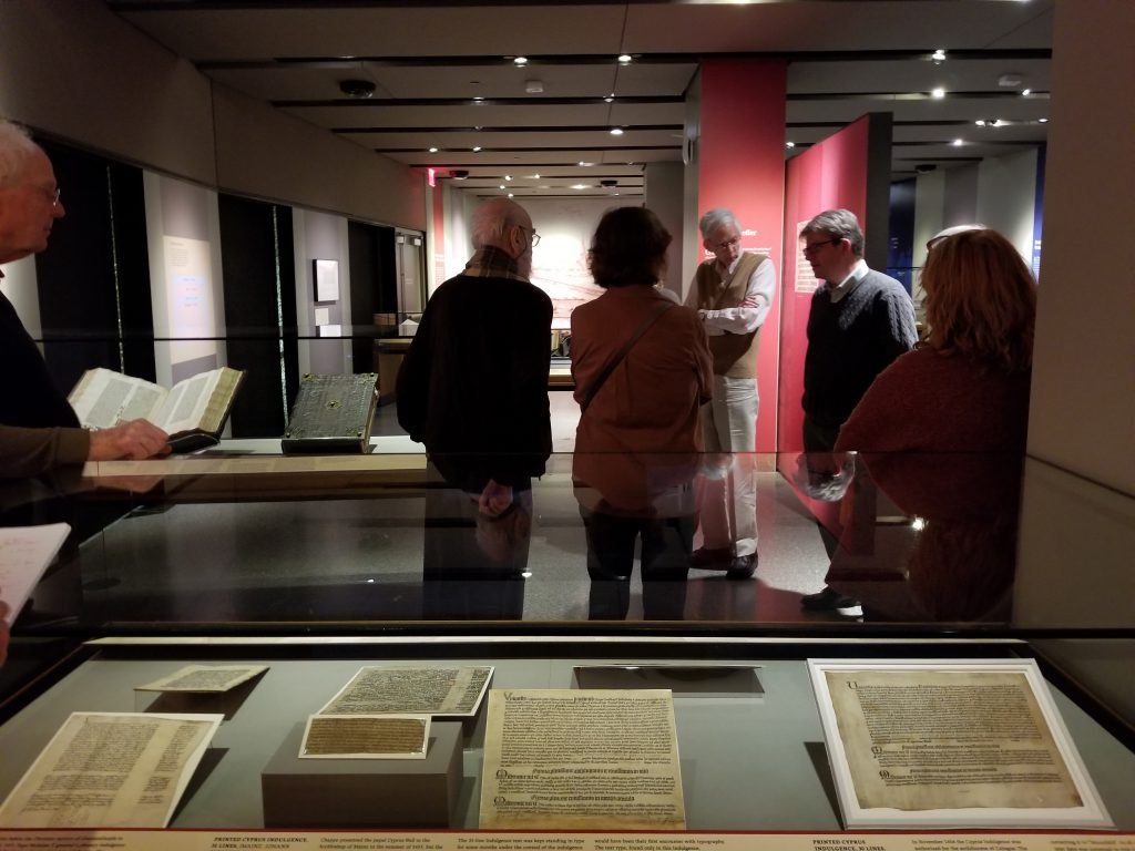 "At the Exhibition of ""Gutenberg and After"" at Princeton University in 2019, the group listens to Eric White's tour.."