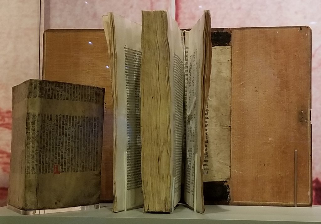 Princeton University Library. Gutenberg Bible Leaves Recycled as Binding Materials. Photograph by Mildred Budny.