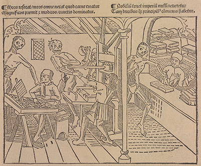 "Princeton University Library. ""La Grant Danse Macabre"" (Lyons, 1499), one of two surviving copies. It contains the earliest depiction of a printing shop, albeit accompanied by animated cadavers."